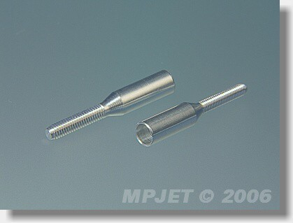 Aluminium couplers for carbon tube 6 mm/M3 right thread
