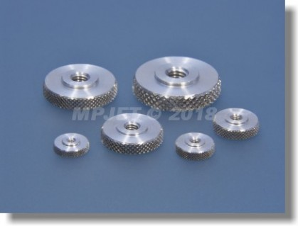 Aluminium flat knurled nut M6