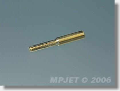 Threaded coupler M2,5, hole 2 mm dia (OD 3, length 22 mm)