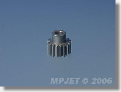 Pinion wheel 18 teeth, 3,2 mm dia, for 3,33:1, module 0,5
