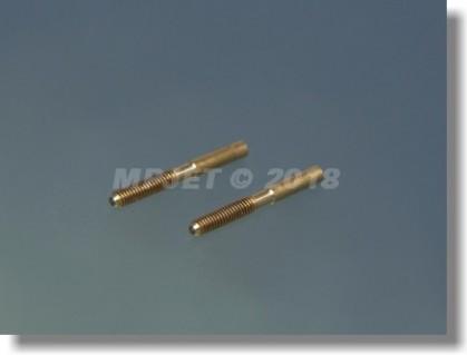 Threaded coupler M2, hole 1,5 mm dia (OD 2, length 19 mm)