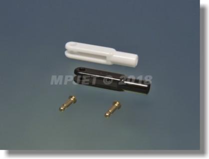 Plastic clevis, length 30 mm, slot width 2,5, pin 2 mm...