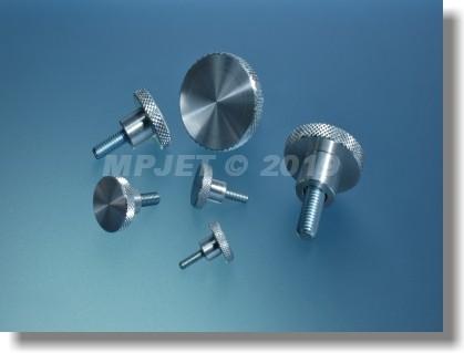 Aluminium knurled screw M4x9