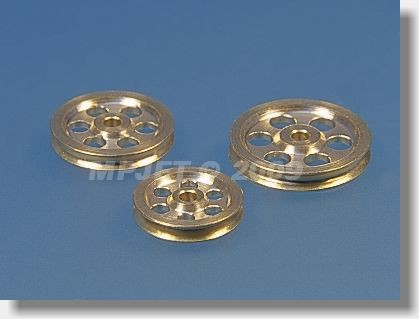 Pulley brass, OD 14, hole 2 mm dia