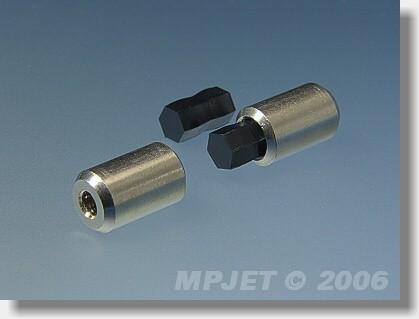 Brass hexagonal shaft coupler 2,3 mm dia